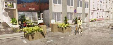 Les nouveaux bacs à compost sur des places de stationnement dans le 14e arrondissement de Paris