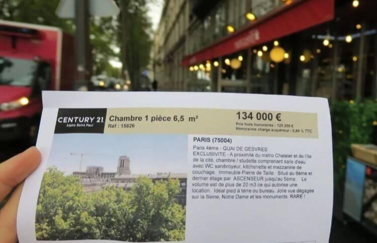Une annonce immobilière de Century 21 pour une chambre de 6,5 m2 à Paris pour 134.000 euros